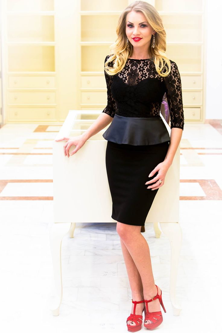 Occasion little black dress with lace and leather