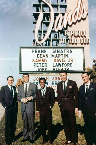 """""""There are images of the famed Rat Pack summit at the Sands Hotel. But I'd never seen colour photos of the Rat Pack summit before. And again, it's something I'm very familiar with but to see it in that light is completely new. And there are hundreds of images like that in this book. Picture the iconic image and then imagine all the outtakes from that day's photo shoot. The iconic image, the five fellas under the marquee of the Sands which is the cover of my book, Rat Pack Confidential, has go...Sands, Music, Las Vegas, The Rats Pack, People, Dean Martin, Ratpack, Frank Sinatra, The Rat Pack"""