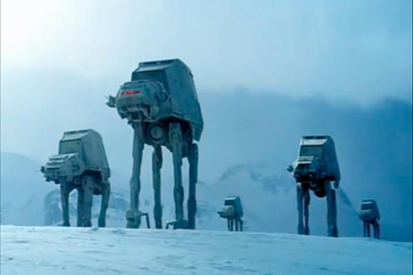 """The elephantine four-legged walkers used to attack a snowy Rebel Alliance base in the film """"The Empire Strikes Back"""" were officially known as AT-AT walkers, for """"All Terrain Armored Transport."""""""