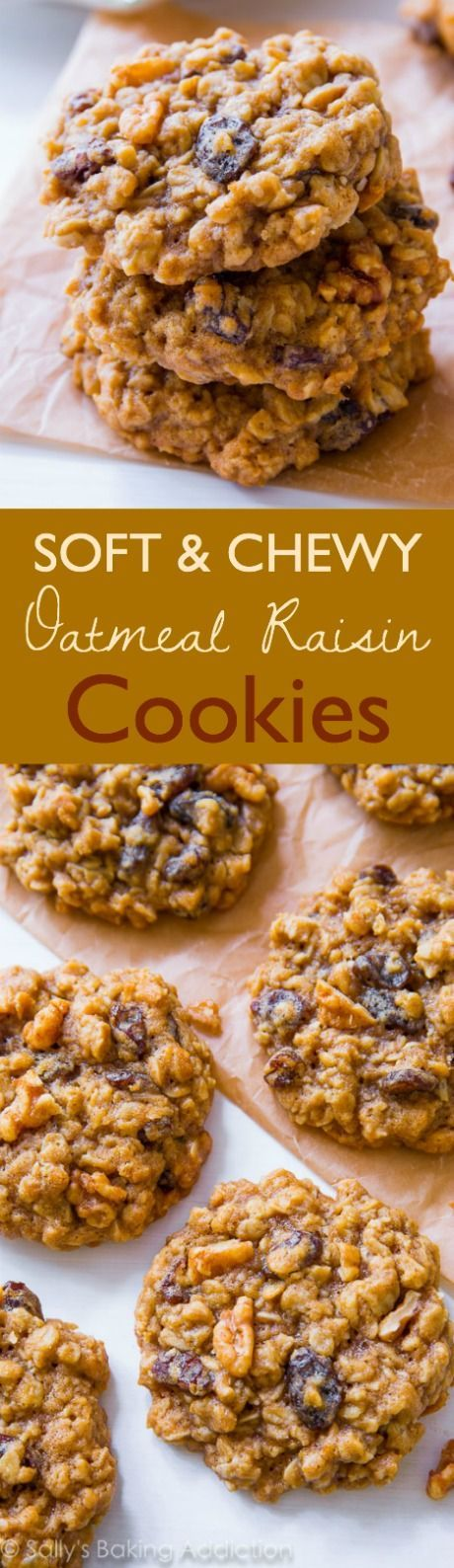 Soft-Baked Oatmeal Raisin Cookies by sallysbakingaddic.... Nothing fancy or complicated, just pure homemade goodness!