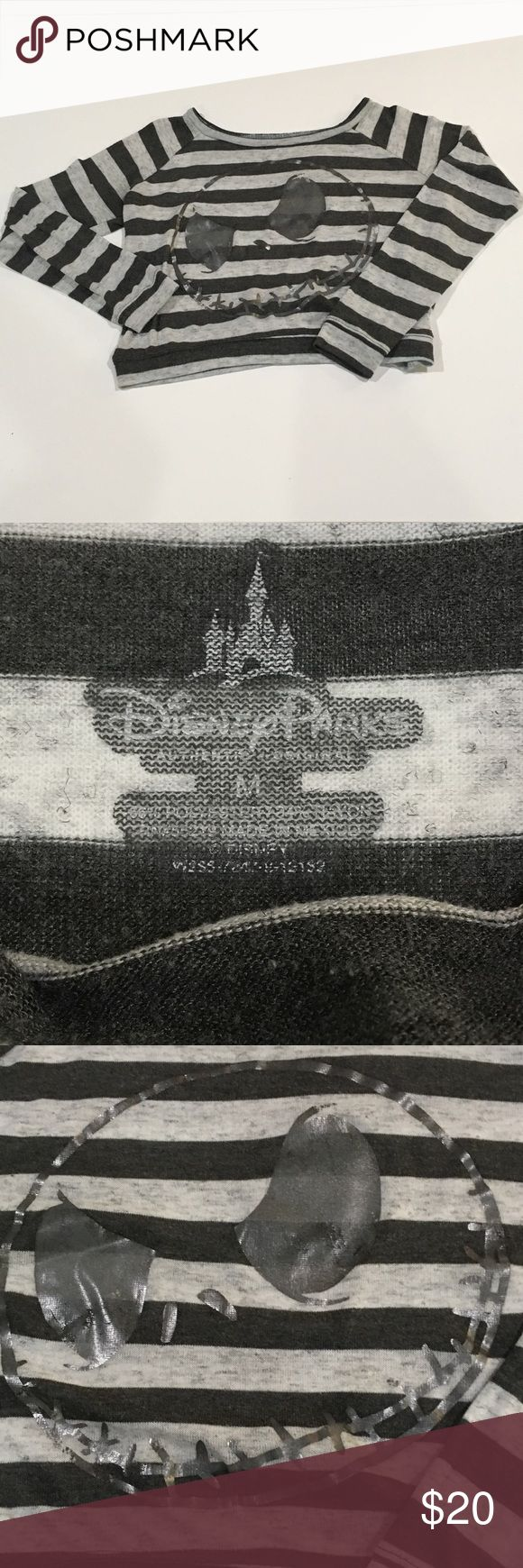Disney Jack Skellington Cropped Shirt Jack Skellington cropped stripped long sleeve shirt size M Disney Tops Crop Tops