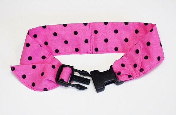 Dog Cooling Bandana Fabric Band Neck Cooler Collar with Buckle Adjustable Size Medium 14 to18 inch Pink Black iycbrand on Etsy, $14.99