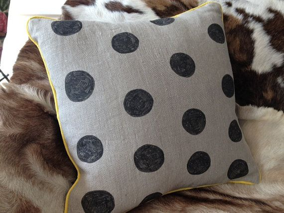 Black spot cushion with yellow - Hand drawn on linen with flannel back