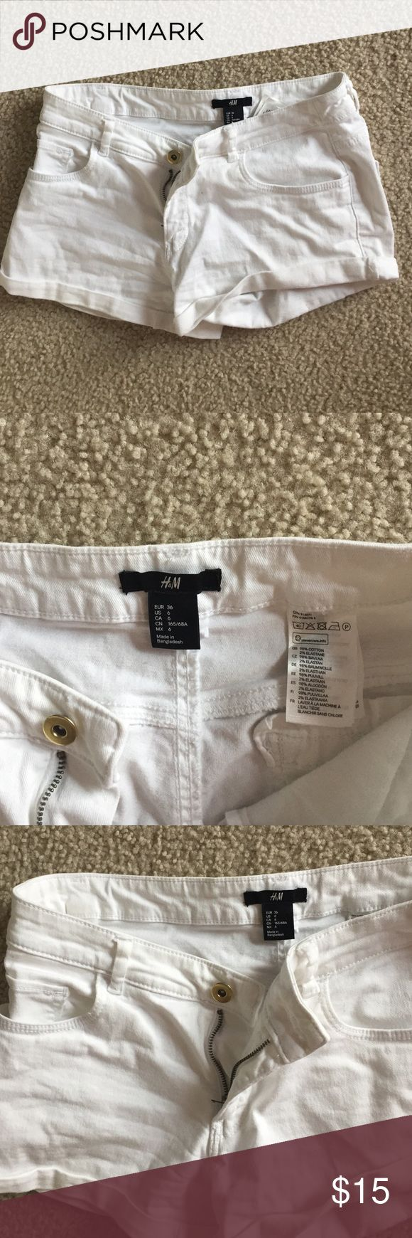 White blue jean shorts from H&M. Women's A pair of white blue jean shorts from H&M. Women's size 6. Runs very small. In perfect condition with no stains or holes. A gold button in the front with a zipper. 2 pockets in the back. Plain-no design H&M Shorts Jean Shorts
