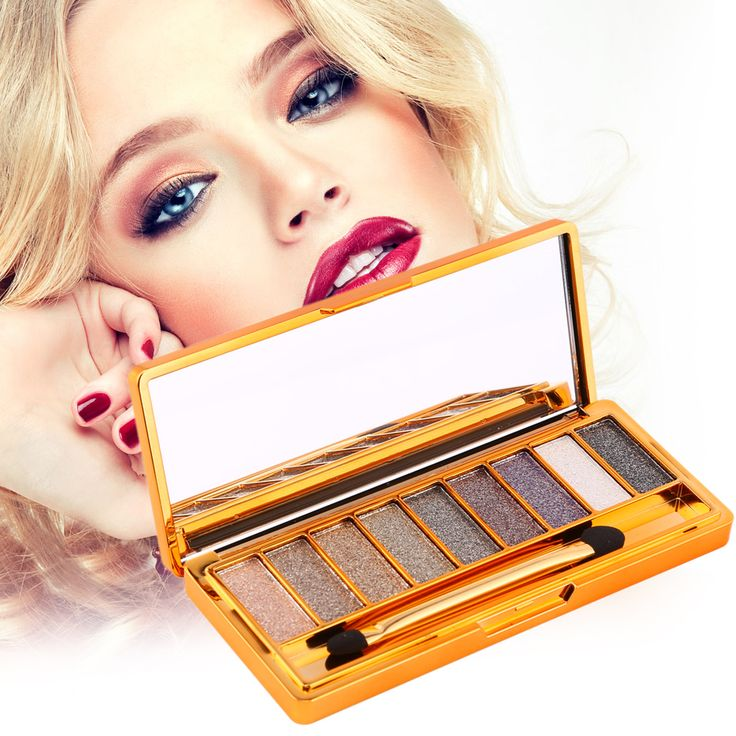 9 Colors Eyeshadow Palette Diamond Bright Makeup Eye Shadow Flash Glitter Make up Set with Brush Naked Cosmetics #Affiliate