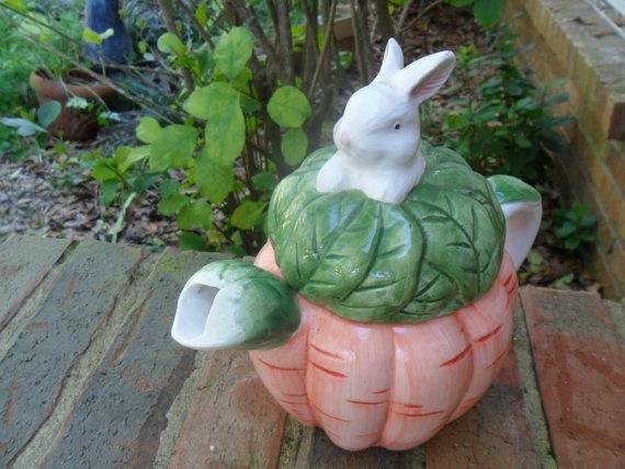 VTG Springtime Rabbit Teapot English Nature by TeresasVintage, $10.00
