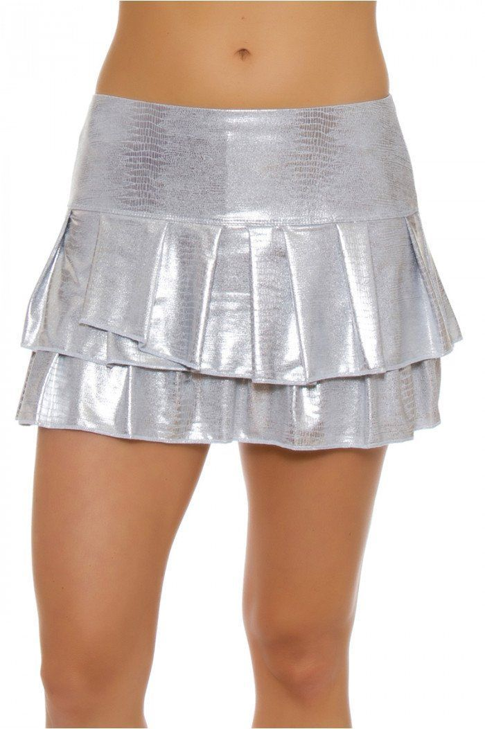 2006d42a06 Lucky In Love Women's Core Bottoms Silver Slither Pleat Tier Tennis Skirt  #ActiveTop&BottomSets