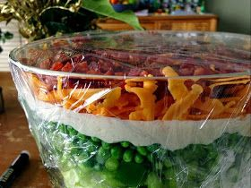 Classic Seven Layer Salad. I always forget about this classic crowd-pleaser! Perfect for a BBQ or as an Easter side dish: 1 head of iceberg lettuce, 3 hard-boiled eggs, chopped, 1 cup frozen peas, thawed, 1 red onion, chopped, 1/2 cup chopped celery, 1/2 cup chopped green pepper, 1-1/4 cup mayonnaise mixed with 2 teaspoons sugar, 4 slices crisp bacon, crumbled, 1-1/2 cups grated cheddar cheese.