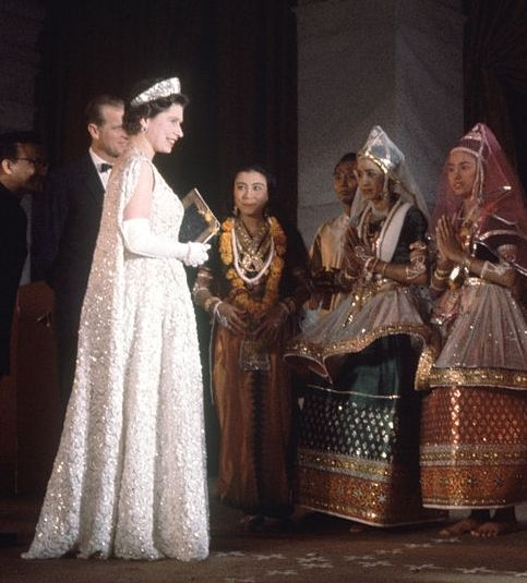 Queen Elizabeth II's state visit to India, 1961 - I love this gown!  Gorgeous tiara with this gown!  Perfect look for a queen.