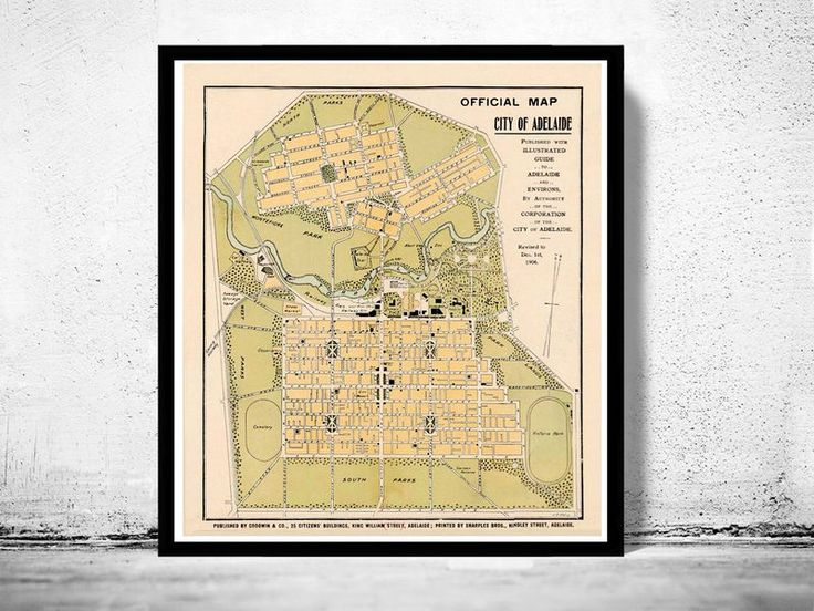 Vintage Map of Adelaide City , Australia Oceania 1906This is a reprodution of an highly detailed map. The Map ihas various dimensionsThe map is printed on fine matte museum archival paper 250gsmThe frame is not included.This page will be carefully...