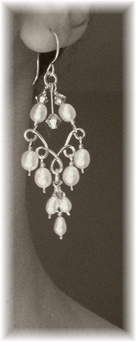 Pendientes de araña Handwired nupcial plata por BridalDiamantes