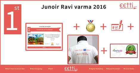 "#eetti #‎JuniorRaviVarma 2016 1st Prize for 6th to 10th standard goes to ""Meghna Unnikrishnan"".  For more details visit https://www.facebook.com/eettidotcom"