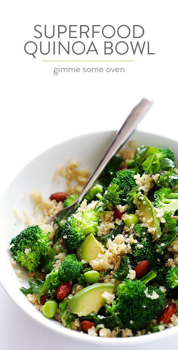 Easy Superfood Quinoa Bowl -- full of delicious superfoods, and topped with almonds and a sesame vinaigrette | gimmesomeoven.com