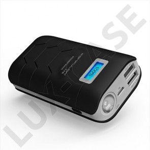 Konfulon (Musta) 10000mAh Varavirtalähde Älypuhelimille Kahdella Ulostulolla