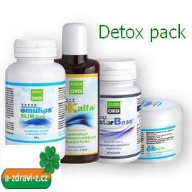 OKG Detox pack ( sada k pročištění organismu ), OK Alfa+ 115 ml., OKG Factor Base 60 tbt., Emulips Slim Drink 60 g., OK Beta+ 150 g.