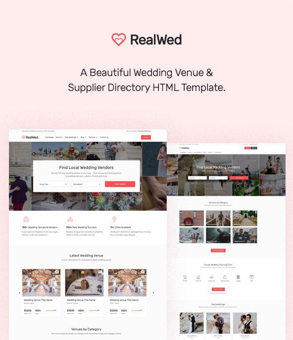Realwed Wedding Supplier Directory Listing Html Template Wedding Suppliers Website Template Design Beautiful Wedding Venues