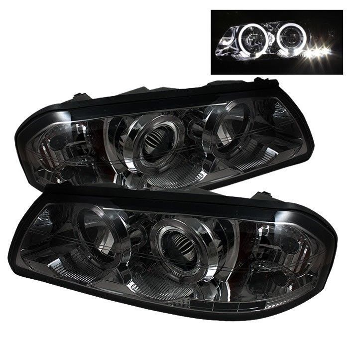 Projector Headlights LED Halo Chevy Impala 00-05 Smoke Aftermarket headlights   #Spyder