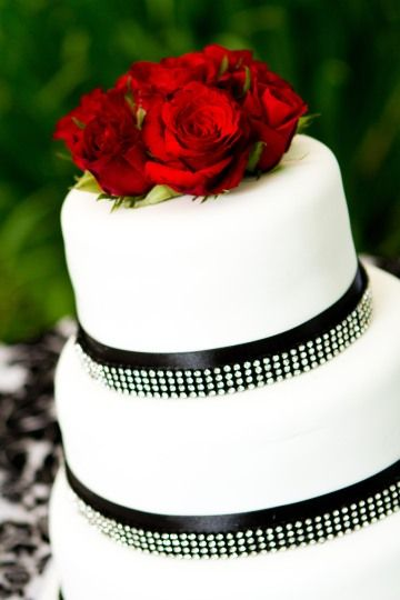 Black and White Diamonds with Fresh Roses