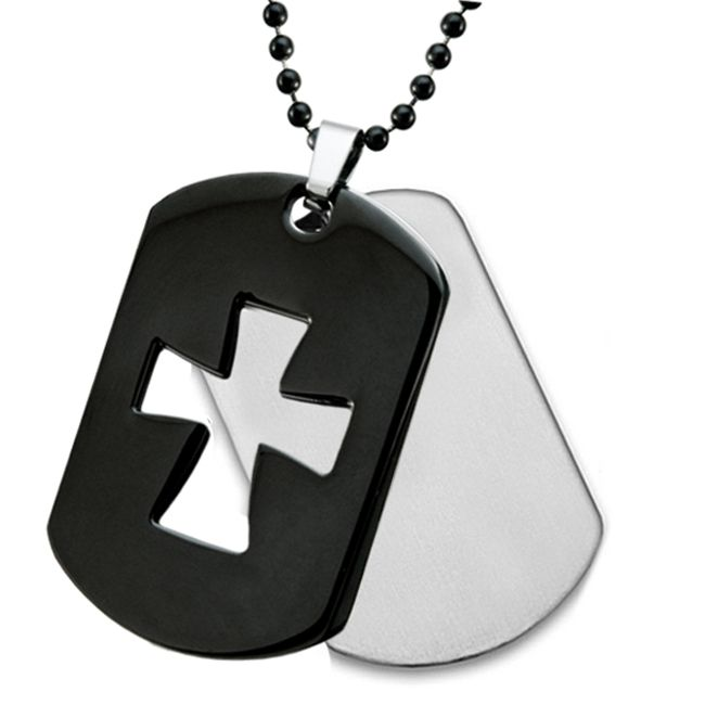 Stainless Steel 2-Piece Black Plated Laser Cutout Cross on a 24 Inch Chain The black dog tag with a cut out European inspired cross takes center stage as it is set off a shiny solid dog tag. The pair is finished with a black ball chain to make a bold statement.Price: $29.95Read More and Buy it here! http://ponderosa.co/szul/stainless-steel-2-piece-black-plated-laser-cutout-cross-on-a-24-inch-chain/