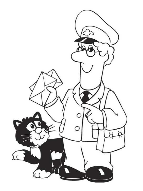 Postman Pat Delivering Mail With Jess Coloring Pages Postman Pat Coloring Pages Colouring Pages
