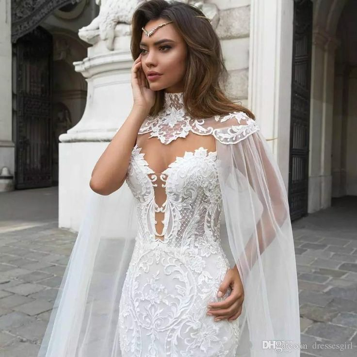 2019 Beautiful Mermaid Lace Marriage ceremony Clothes With Cape Sheer Plunging N…