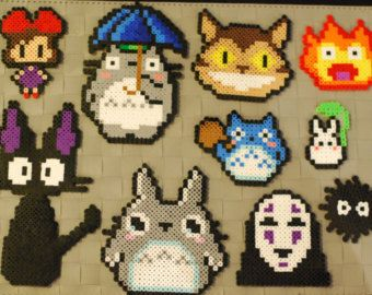 Studio Ghibli Sprites Perler Magnets/Necklaces! My Neighbor Totoro-Howls Moving Castle-Kiki's Delivery Service-Spirited Away-No Face-Cat bus