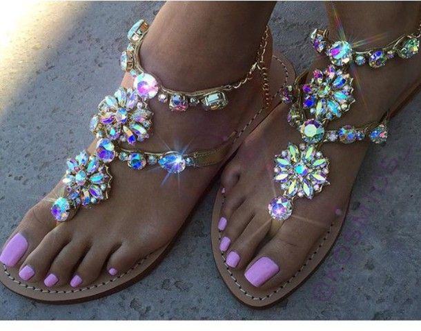 shoes glamour kills original rhinestones fashion sandals glitter bling summer pink strass girly flat sandals rhinestone sandals