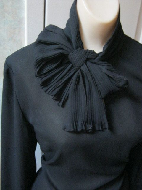 neck tie blouse | ... sheer tie neck blouse with micro pleat cuffs and neck scarf size 10
