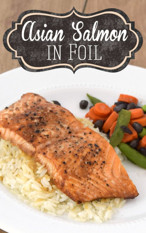 Asian Salmon Baked in Foil Recipe with Teriyaki and Soy Sauce - a healthy classic dish and less than 30 minute meal