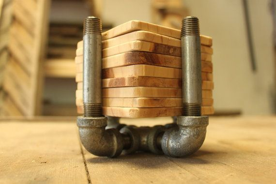 Industrial coaster set 8 natural wood coasters by ADAMSandAUGUST, $65.00