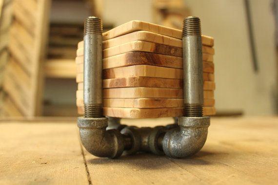 Industrial coaster set 8 natural wood coasters by ADAMSandAUGUST, $65.00
