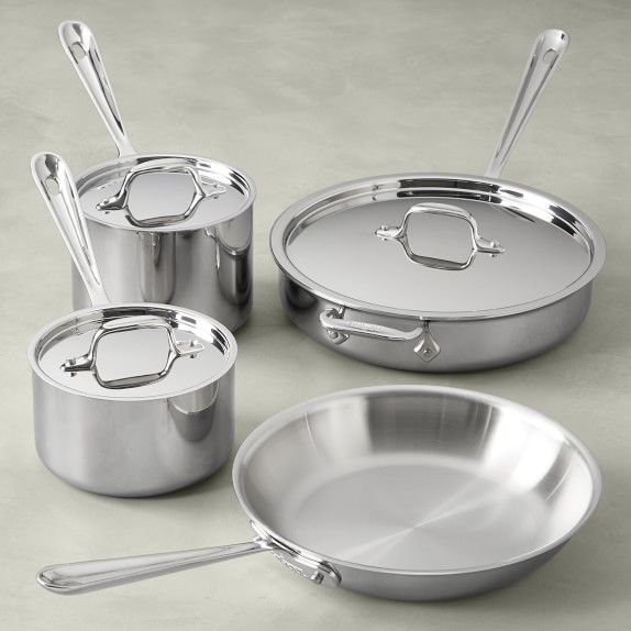 All Clad D3 Tri Ply Stainless Steel 7 Piece Cookware Set