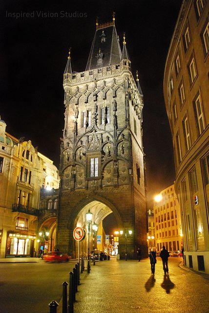 "Prašná brána (Powder tower), Prague. Construction begun 1475; one of the 13 entrances to the Old Town. Next to our favorite ""let's go party!"" metro station, Náměstí Republiky."