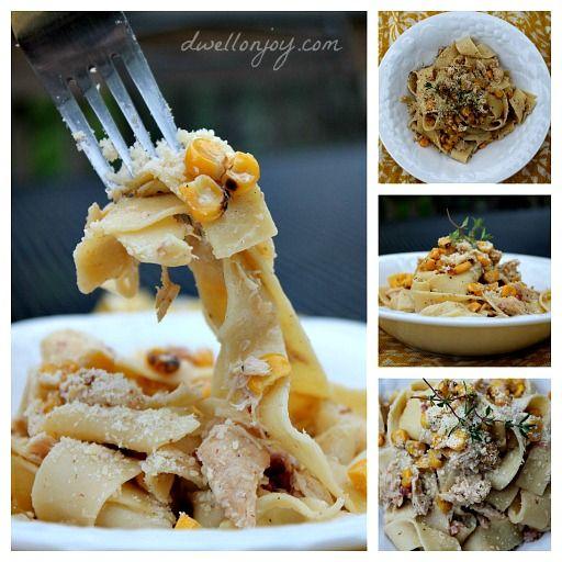 Dwell on Joy: Roasted Corn & Chicken Pasta Carbonara
