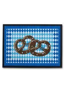 bpc living   Fußmatte Brezel in blau: Bedruckte Schmutzmatte mit Brezel Motiv, umlaufender schwarzer Rand, Rückseite