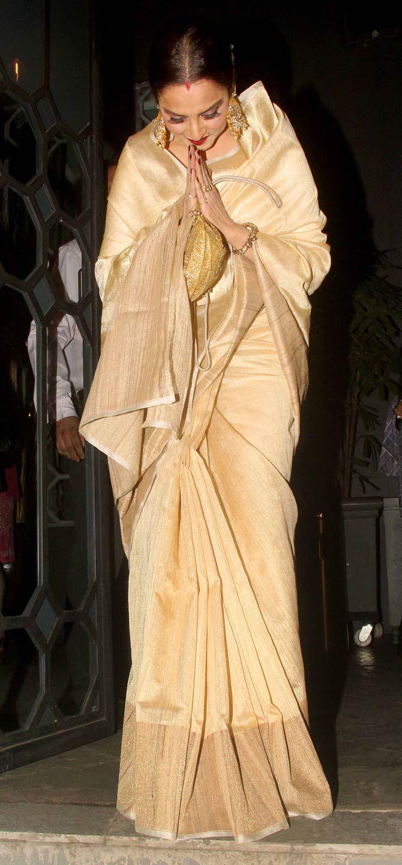 Rekha at Sanjay Leela Bhansali's bash. #Bollywood #Fashion #Style #Beauty #Hot #Saree