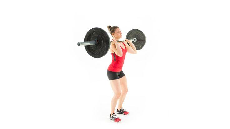 (Push Press) Al contrario que en el Shoulder Press, el levantamiento de la barra  parte desde la piernas, que están semiflexionadas para impulsar la barra por encima de la cabeza.