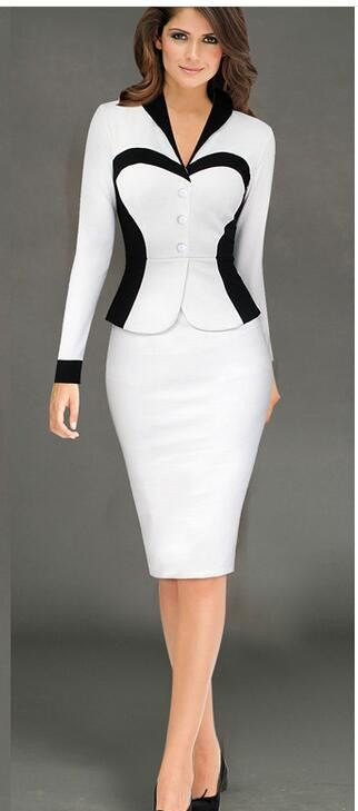 women's fashion dresses black white pink long sleeved Waist Package hip A-Line V Neck Working pencil Dresses