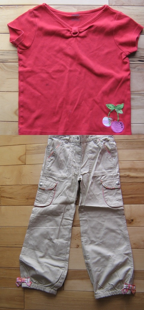 Gymboree Cherry Baby Girls Red w/ Plaid Cherry Top GUC & Khaki Cargo Pants EUC 6 (from the April '08   $5.00