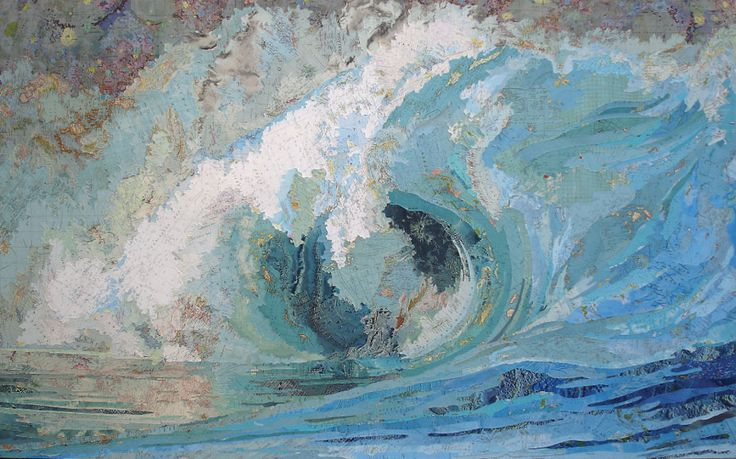 Matthew Cusick, 'Fiona's Wave,' 2005    Cusick's oversized collages are painted with fragments of vintage atlases and school geography books from the golden era of cartography, 1872-1945.