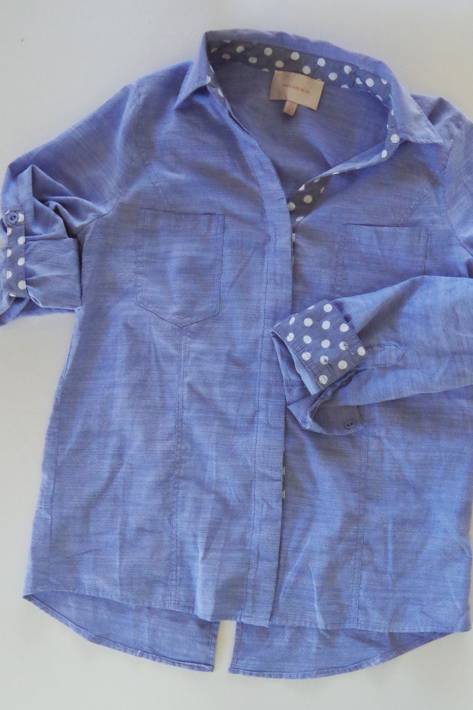 Stitch Fix Skies are Blue Jayda Dot Cuffed Chambray Top | Life by Ky Blog