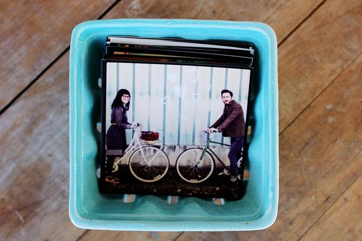 Cute little ceramic farmer's basket from Antropologie to display instagram prints.
