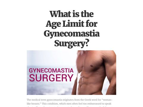 What is the Age Limit for Gynecomastia Surgery?