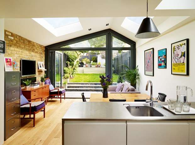 Great asymmetrical extension and glazed gable.  www.methodstudio.london