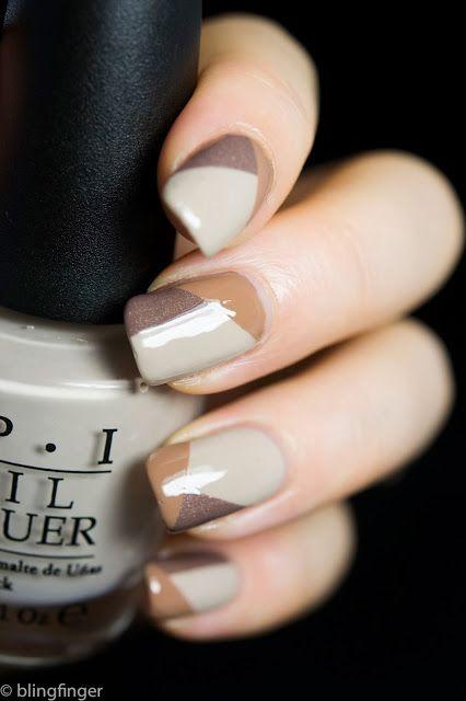 Neutral polish nail art