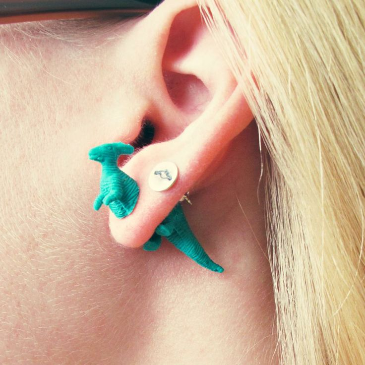 SOMETHiNG MONUMENTAL: DIY Front/Back Stud Earrings     I have these Dino's I will try to make them they are so kool.