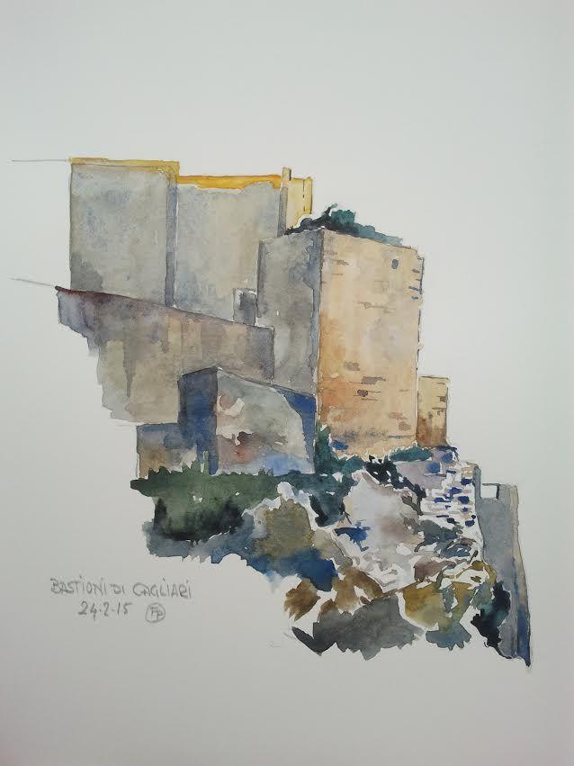 Bastioni di Cagliari Dai piazzali in alto, su diversi livelli, spazio sul golfo e sulle strane alture di roccia sulla sinistra sovrastanti il Poetto. Alle spalle la città vecchia si snoda e promette. Ma le mura e i bastioni sul lato orientale sono davvero struggenti, illuminate dal sole delle 5. Da una foto disegno queste mura.