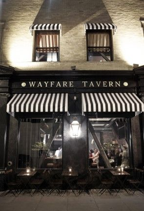 Wayfare Tavern #black #white #stripes #awning #store #front #shop #window