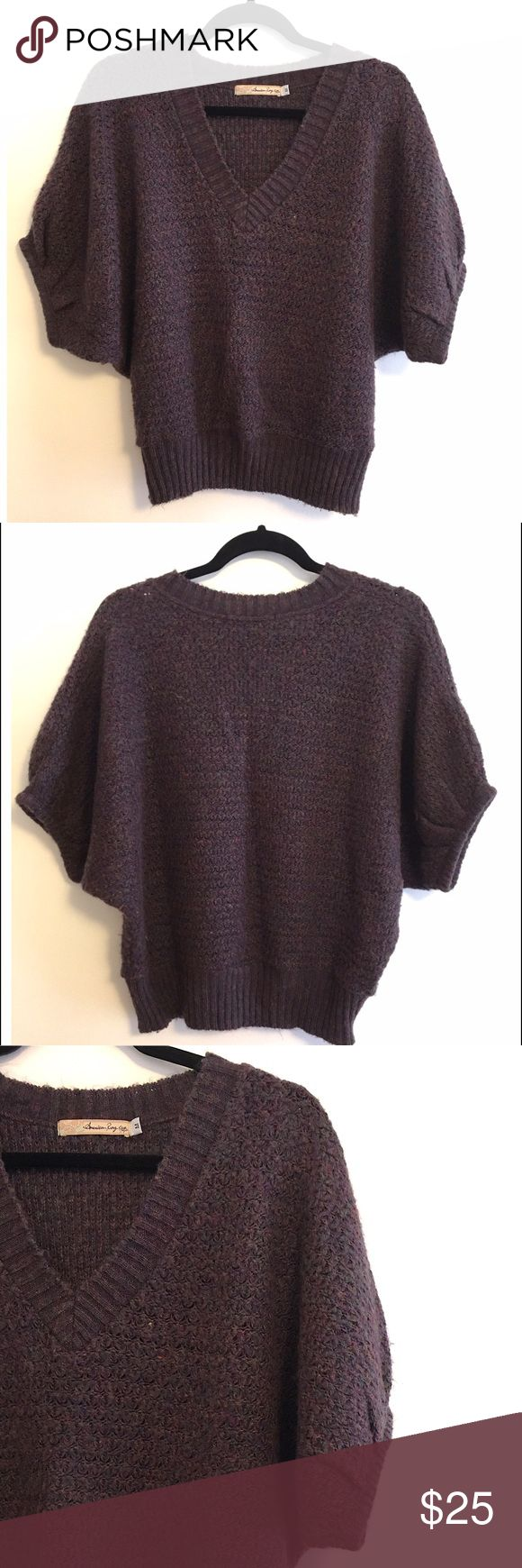 American Rag v-neck knit sweater 💕 Super cute for the cold weather! Purple mix knit material with baggy short sleeves. Great condition! American Rag Sweaters V-Necks