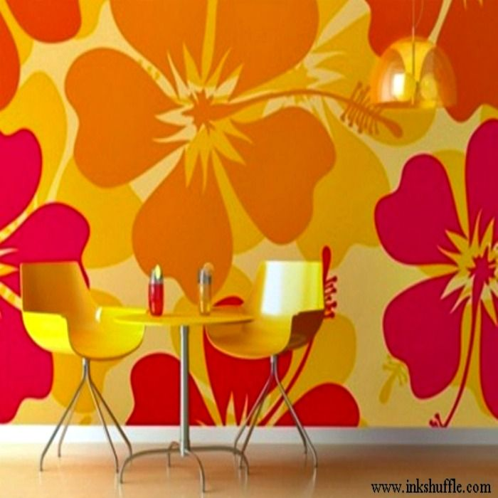 bright colorful hibiscus wall murals
